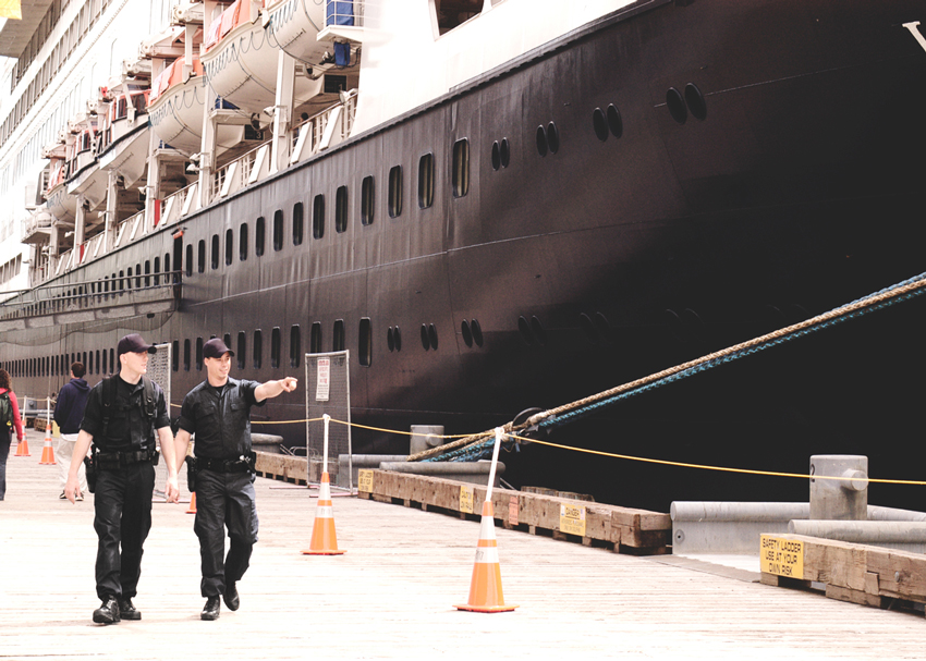 Security Guards protecting cargo ship