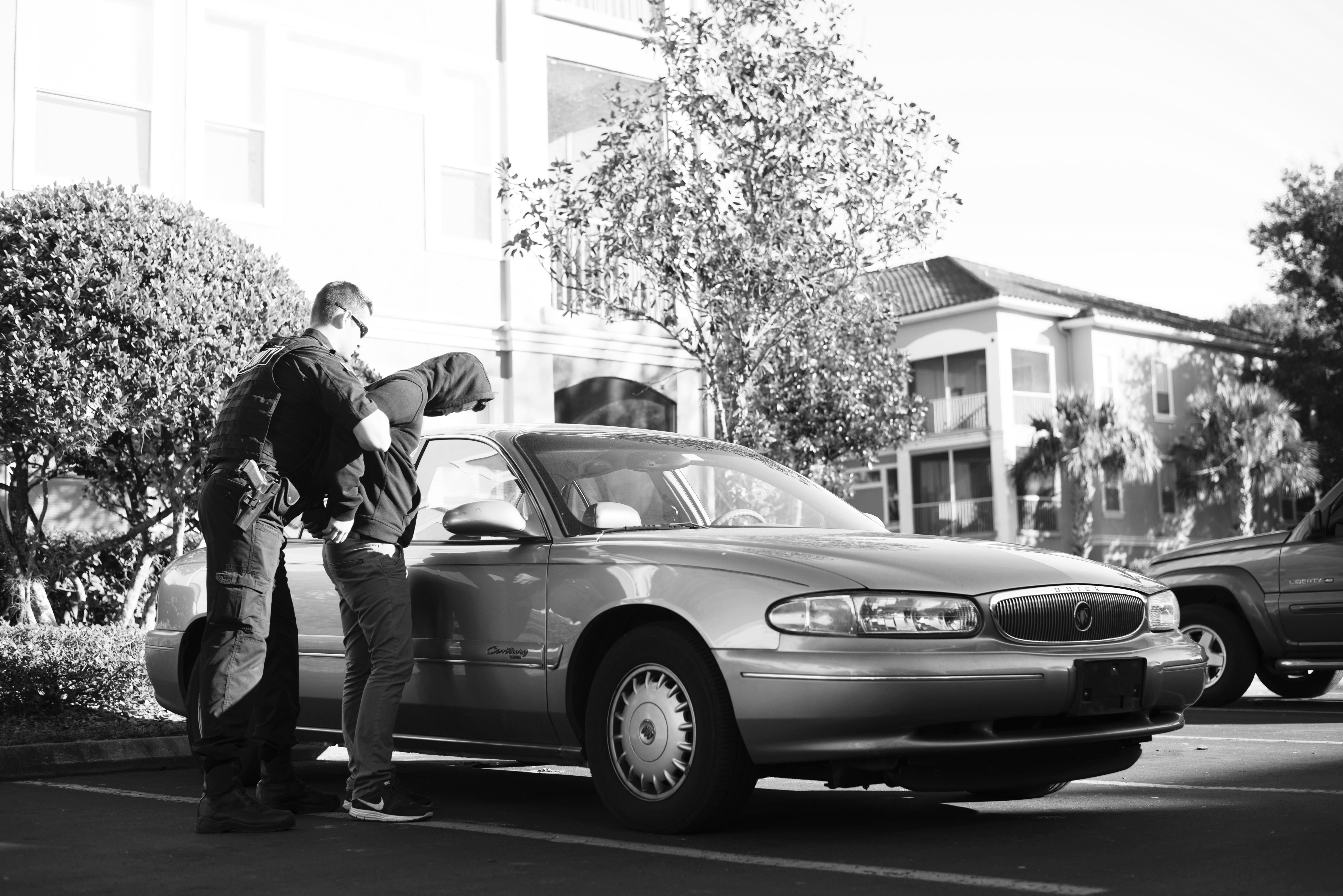 Security guard apprehending a criminal